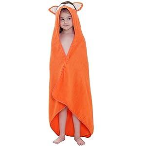 MICHLEY Animal Hooded Baby Towel Washcloth, Toddler Premium Cotton Absorbent Bathrobe for Girls Boys 0-6T (Fox)