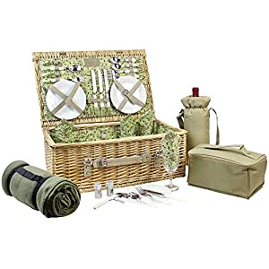 HappyPicnic Picnic Basket for 4, Nature Wicker Picnic Hamper,Willow Picnic Set with Wine Bag, Cooler Tote, Blanket and…