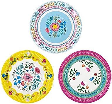 Boho Style Boho Chic Bohemian Decor Party Supplies Paper Plates Pk 24 In 3 Designs Health Personal Care Amazon Com