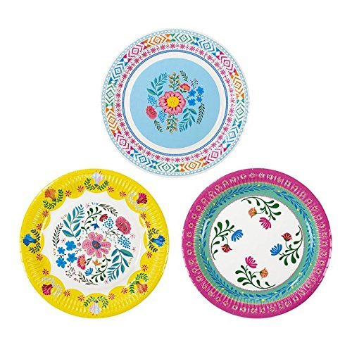 Boho Style Boho Chic Bohemian Decor Party Supplies Paper Plates Pk 24 in 3 Designs by Talking Tables