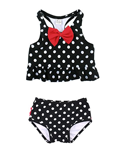 RuffleButts Baby/Toddler Girls Black and White Polka Dot Ruffled Peplum Tankini - 6-12m (Black And White Polka Dot Bathing Suit Bottoms)