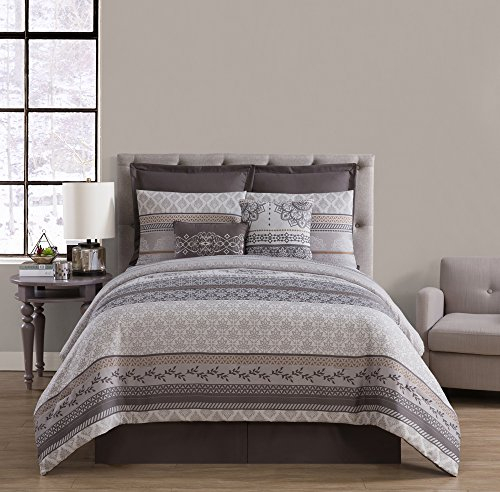 King Comforter Ensemble (King Bed Ensemble Set : Boho Chic Design , All Season Luxurious Microfiber in Gold ; Complete Set Includes Reversible Comforter , Pillow Shams , Decorative Pillows , Bedskirt , Euro Shams)