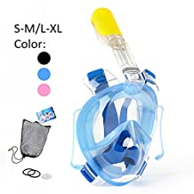 Snorkel Mask, 180° Full Face Snorkeling Mask 100% Panoramic-View, Anti-Fog, Anti-Leak, the Addition of 2 Breathing Tubes To Route the Airway Away From Your View