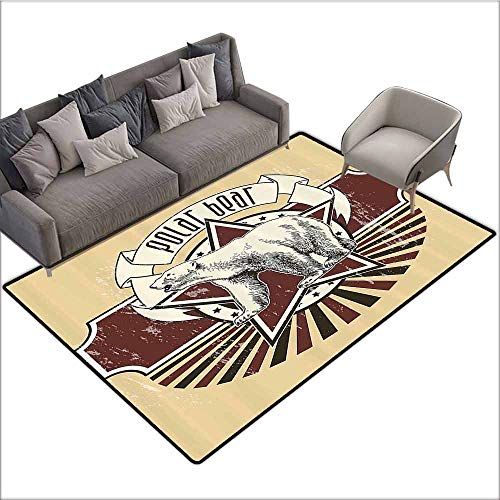 Office Chair Floor Mat Foot Pad Animal,Vintage Retro Polar Bear Label with Bold Stripes Artwork Image,Peach White Black and Burgundy 80