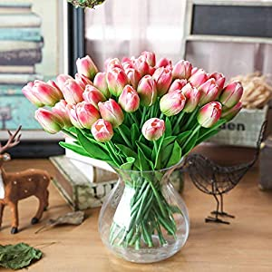 31Pieces Artificial Flowers Branch Tulip Real Touch Flowers Latex Tulips Flower Artificial Bouquet Fake Flower Bridal Bouquet 116
