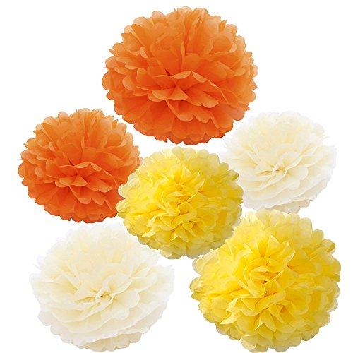 X-Sunshine Outdoor Indoor 18Pcs 10'' 8'' Pom Poms DIY Tissue Paper Flowers Multi-Colors Christmas Wedding Party Room Decor Pom Pom Flowers Pom Poms Crafts Handmade Decoration (Orange Yellow Cream) by X-Sunshine