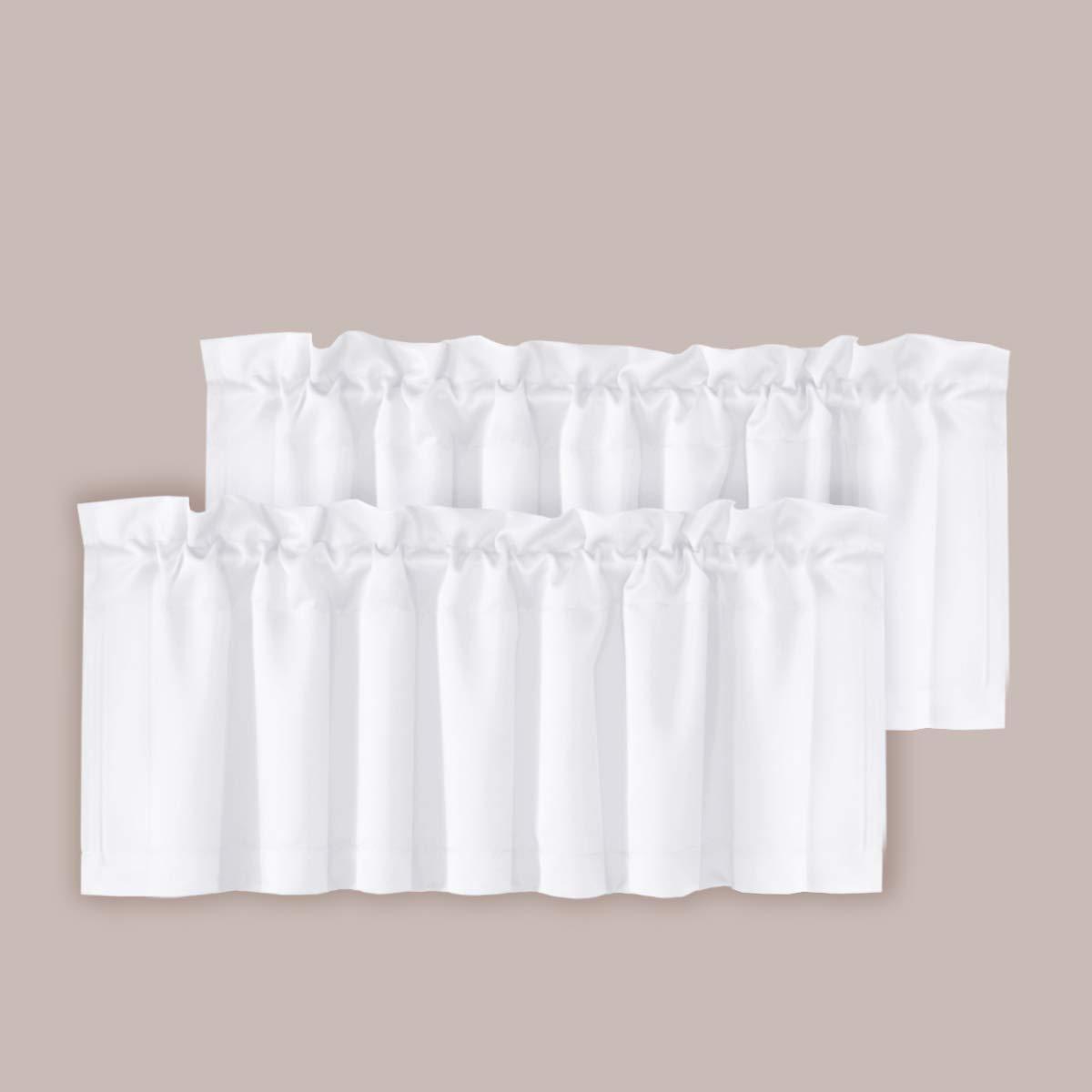 H.VERSAILTEX Room Darkening Blackout Window Curtain Valances for Living Room/Bedroom, 2 Pack, 52 inch x 18 inch, Pure White by H.VERSAILTEX