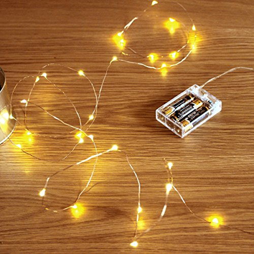 Starry Strands - GardenDecor Led String Lights 50 Leds Decorative Fairy Battery Powered String Lights, Copper Wire light for Bedroom,Wedding(16ft/5m Warm White)