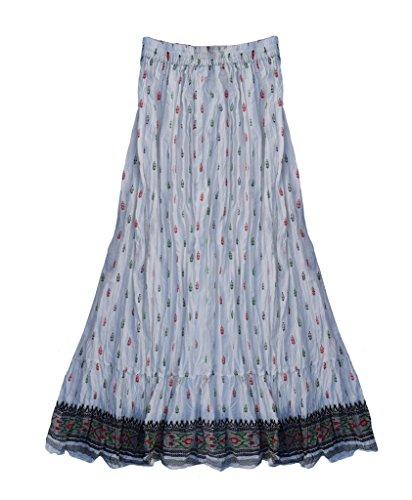 Hand Block Printed Cotton Skirt - Anu 100% Cotton Hand Block Printed Long Skirt: White: S