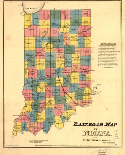 1852 Map Railroad map of Indiana. Shows counties and county seats. A projected railroad is shown between Crawfordville and Gosport, and from Bloomington to Bedford. The