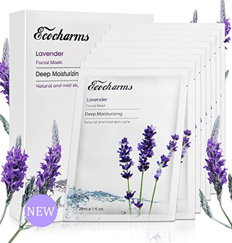 Ecocharms 8 Sheets Hydrating Acne Face Mask,Warm Face Spa - 100% Hyaluronic Acid(Super Hydrating)&Pure Lavender Oil(Anti-acne) Organic Facial Mask for Women(esp.Sensitive Skin)