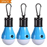 Tent LED Light [3Pack], PEMOTech Camping Light With Mountaineering Buckle Portable Lantern Emergency Tent LED Light Bulb for Home, Fishing, Camping, Hiking,Backpacking & Other Indoor and Outdoor Activities,Battery Powered & Water Resistant Gif