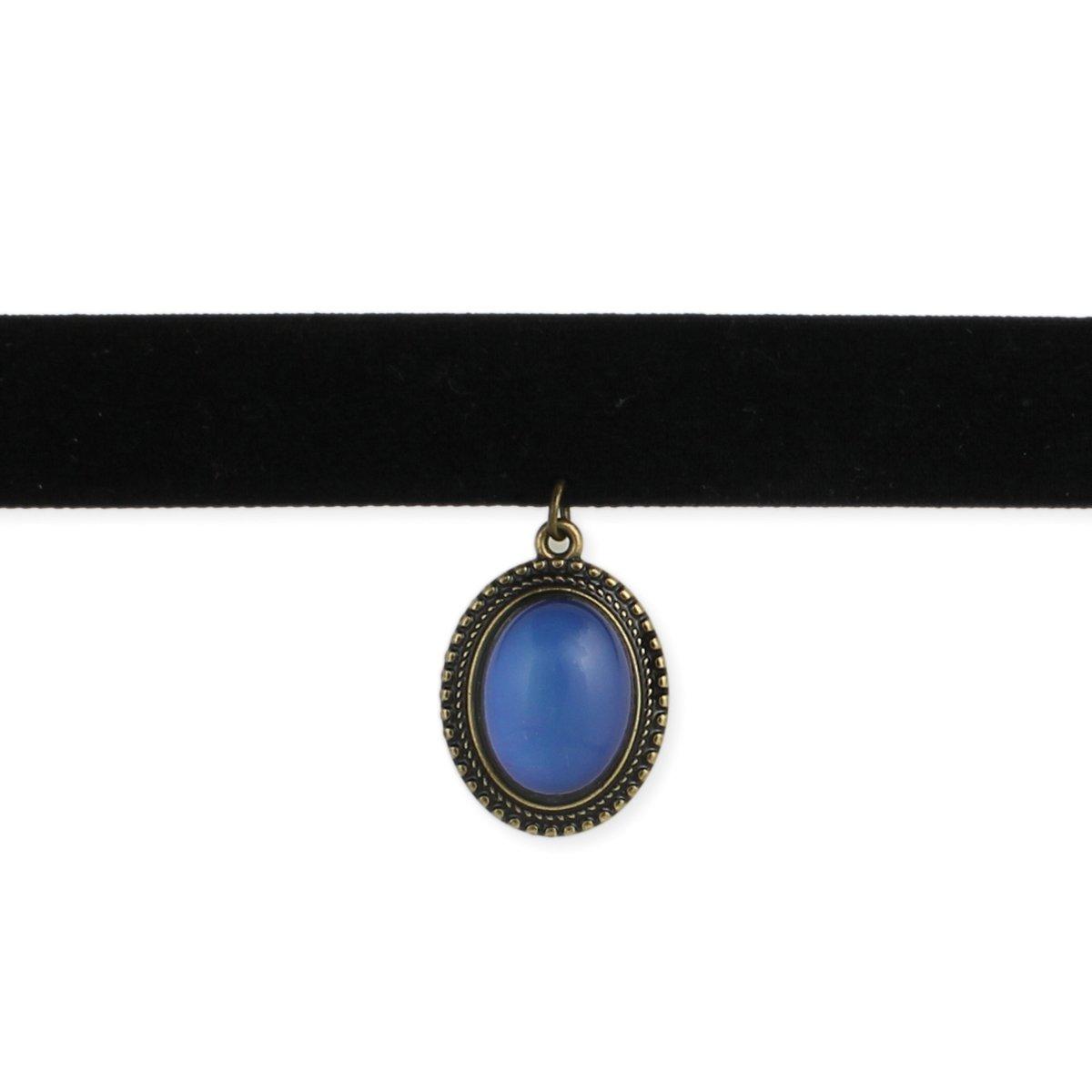 Classic Black Velvet Mood Choker Necklace - Retro 1990's Style