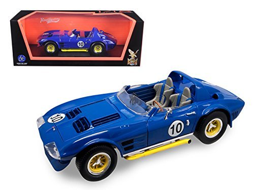 Road Signature 92697 1964 Chevrolet Corvette Grand Sport Roadster #10 Dark Blue 1/18 Diecast Model Car