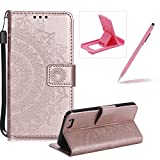 Strap Leather Case for iPhone SE,Rose Gold Wallet Cover for iPhone 5S,Herzzer Classic Retro Pretty Mandala Flower Embossed Magnetic Closure Stand Shockproof Flip PU Leather Back Case with Soft Silicone