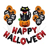 TEAMWIN 30 Pack Halloween Balloons Set  Pumpkin Cat Tassels Inflatable Happy Halloween Wall Hanging Decorations Party Favors Supplies