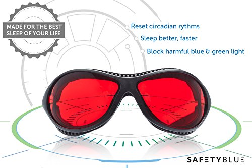 Sleep Savior ® Ultra - Red Night Glasses - Blocks Out More Disruptive Light Than Blue Blockers - for Men and Women - Increase Melatonin Naturally and Help You Sleep Better - Perfect for Jet Lag