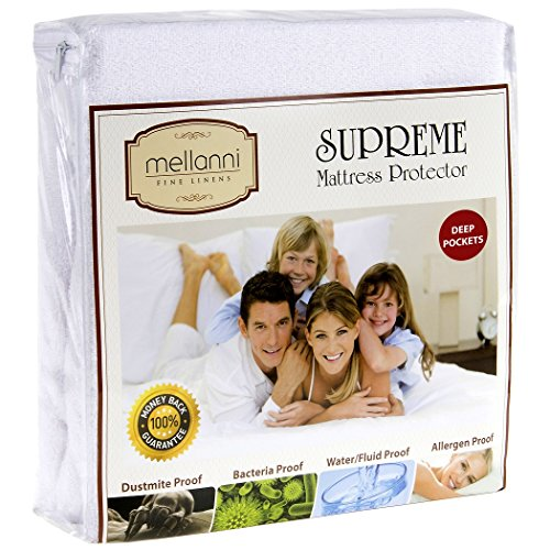 Mellanni Premium Waterproof Mattress Protector - Dust Mite, Bacteria Resistant - Hypoallergenic - Fitted Deep Pocket - Better than Pads, Covers or Toppers (Queen)