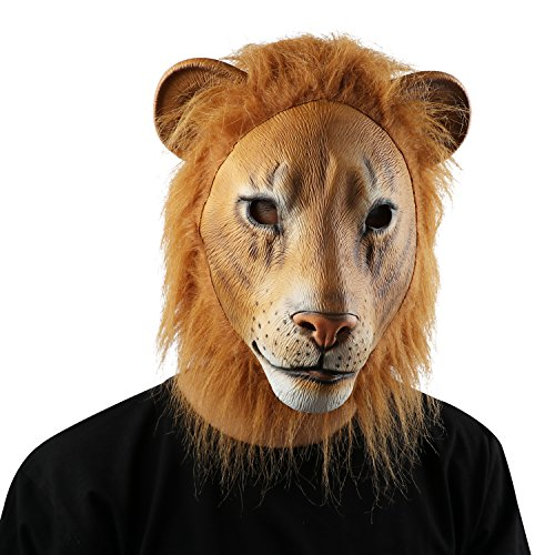 Costumes For Adults To Make At Home (Latex Animal Head Mask Halloween Party Costume Decorations - Lion)