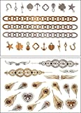 New Lease,Super Saving Metallic Temporary Removal Shiny Tattoos,12 Sheets, Over 120+, Gold, Silver, Mutlicolor