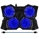 "BAKTH 14""-17"" Blue LED 4 Fans Gaming Laptop Cooling Pad with Adjustable Speed Switch For Computers Notebooks Macbook + Customized Mouse Mat"