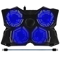 BAKTH 14-17 Blue LED 4 Fans Gaming Laptop Cooling Pad with Adjustable Speed Switch For Computers Notebooks Macbook + Customized Mouse Mat