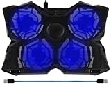 "BAKTH 14""-17"" Blue LED 4 Fans Gaming Laptop Cooling Pad with Adjustable Speed"