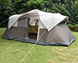 K&A Company Double Layer Waterproof Camping Tent with Carry Bag New Outdoor 10 Person Brown with Light Gray