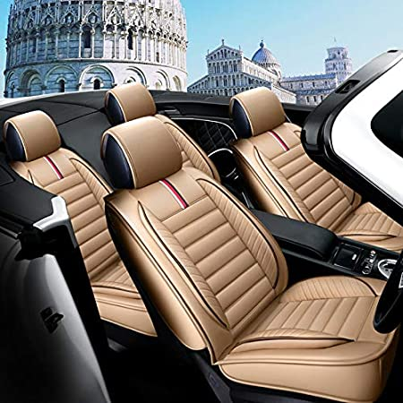 Suitable for Most Removable Headrest Bucket Seats West Leathers 5 Car Seat Covers Full Set with Waterproof Sedan SUV Truck Van MPV Compatible with 90/% Vehicles