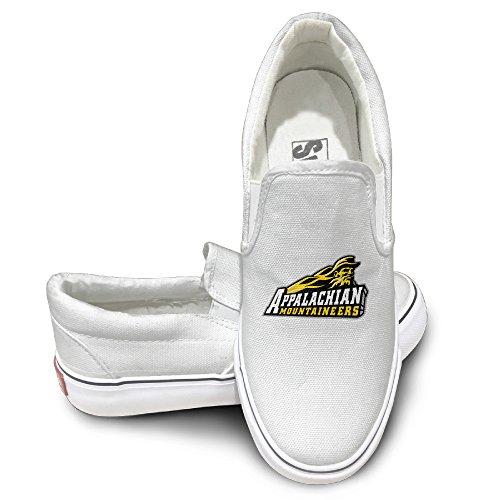 Amone Appalachian État Universite Toile Unisexe Toile Toile Chaussures Sneaker Blanc Blanc