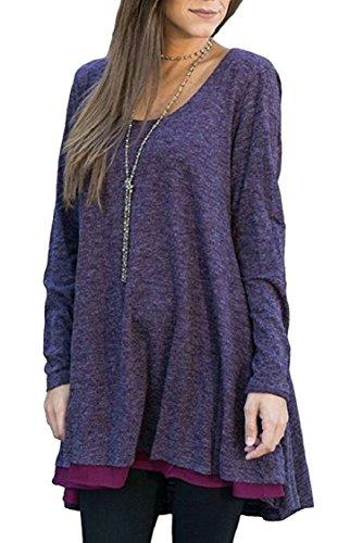 Jaycargogo Femmes Couleur Unie Occasionnels Cou À Manches Longues En Vrac Rond T-shirt Robe Violette