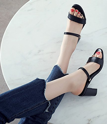Aisun Women's Chic Slip On Medium Block Heels Sandals Black RK195aiI