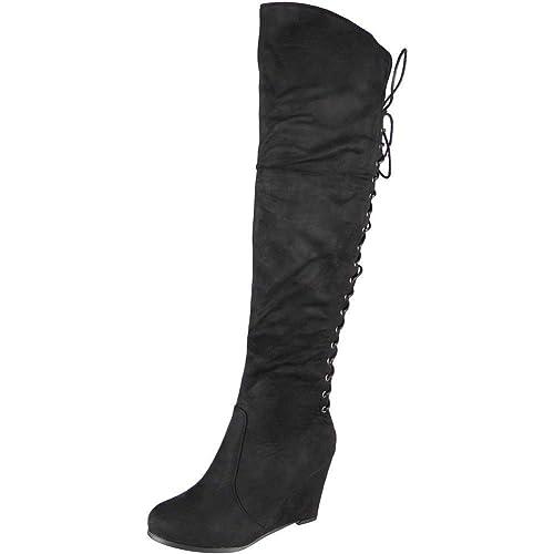 Knee High Wedge Heel Boot Amazon Co Uk