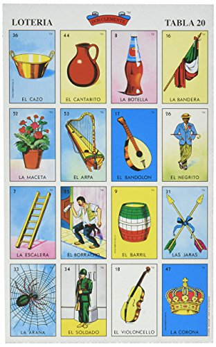 Don Clemente Autentica Loteria Mexican Bingo Set 20 Tablets Colorful and Educational (Loteria Mexican Bingo)