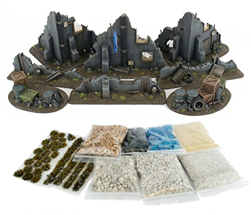 WWG War Torn City - Ruined Multi-Storey Buildings Full Set with Scenery Materials - 28mm Wargaming Terrain Scenery 40K