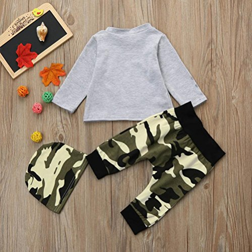 e496d339344 Gallity Newborn Infant Baby Boy Deer T shirt Tops Long Camouflage Pants Hat  3Pcs Clothes Set