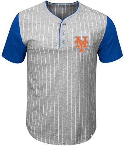 (VF New York Mets MLB Mens Majestic Life Or Death Pinstripe Henley Shirt Gray Big & Tall Sizes (5XT))