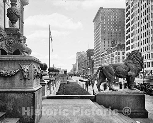 Restored Black & White Photo - Historic Chicago, Illinois - The Art Institute of Chicago, c1910 | 60in x 44in
