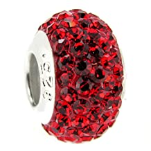 925 Sterling Silver July Birthstone Round Crystal Bead For European Chamilia Biagi Troll Pandora Charm Bracelets