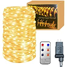 YINUO LIGHT 33ft 136 LED Rope Lights with Remote,8 Lighting Modes/Timer Dimmable Waterproof Rope Lighting for Outdoor Patio Gardens Parties Pool Christmas Xmas Halloween Home Decoration
