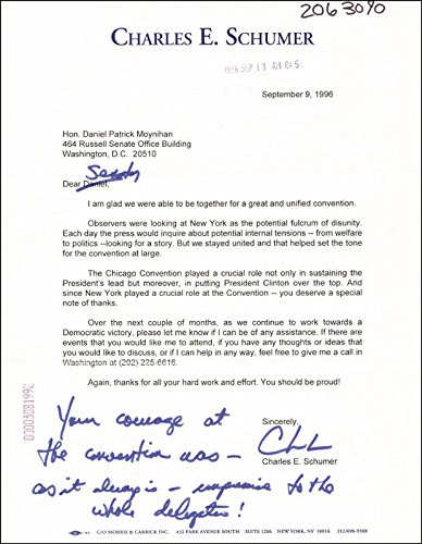 Chuck (Charles E.) Schumer Typed Letter Signed 09/09/1996