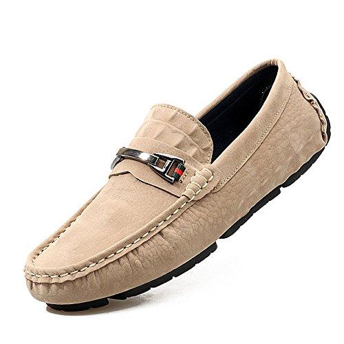 de Mocasines Cuero Caqui Casuales de Laofers Slip los Zapatos Hombres On w1Yqtf15
