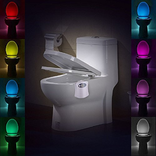 KC Toilet Bowl Seat Light 8 Color Changing Led Motion Sensor (Motion Detectors Collection)