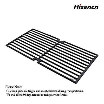 Hisencn Universal Gas Grill Grate Cast Iron Cooking Grid Replacement for Brinkmann 810-7490-F, 810-8410-S, 8107490F, 8108410S, 8107490-F, 8108410-S, Charmglow 810-8410-F, Set of 3