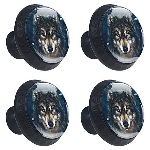 (DEYYA 4 PCS 30mm Sled Canis Wolf Head Crystal Glass Cabinet Knob Drawer Pull Handle for Kitchen, Cupboard, Dresser, Wardrobe, etc)