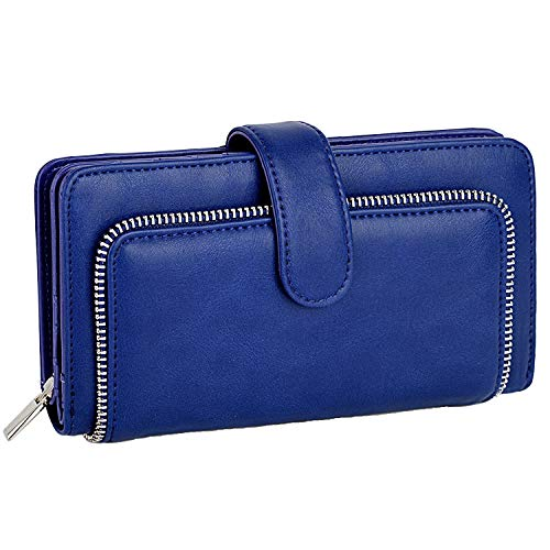 UTO Women PU Leather Wallet RFID Blocking Large Capacity 15 Card Slots Smartphone Holder Snap Closure D Blue