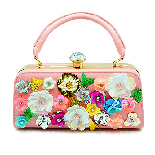 Women's Evening Clutch Bag Satin Flower Pearl Beaded Evening Handbag Bridal Clutch Purse Prom (Pink) (Pink Bag Beaded Evening)