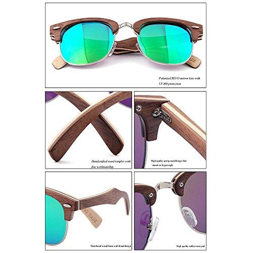 Noir hommes Rimless protection Couleur main couleur en KOMEISHO Semi Lunettes pour UV femmes bois à Noir soleil de la lentille wZUqZ1Rz