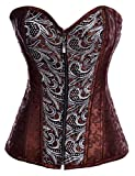 Alivila.Y Fashion Sexy Punk Front Zip Up Corset 2836 With G-String-Brown-S/Bust:30-32inch Waist:24-26inch