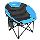 KingCamp Moon Leisure Portable Stable Comfortable Folding Chair for Fishing Patio Parties Camping Beach Picnic (Blue)